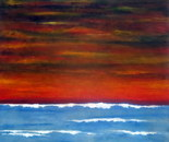 Night is setting in, acrylic 50H/50W cm, 3 cm. 16.05.2016 after sunset seen from the seaside