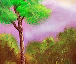 Tree with violet sky