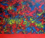 Flower field acrylic. 60L/50W cm, 2 cm. Red and blue flowers in the sunny breeze