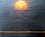 Red moon, acrylic 60L/50H cm, 3 cm. Like a japanese laquer box, just one golden-red moon