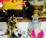 jockey figurine with lamp & flowers