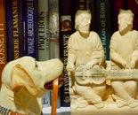 resin dog watching medieval figurine