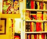 bookshelf and plush tiger