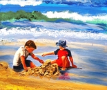 Children build their houses with sand