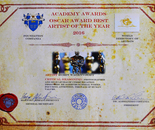 Robin Wagenvoort received the Certificate of the Academy Awards, Oscar Award Best Artist of the Year 2016