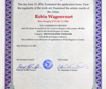 Robin Wagenvoort received the Certificate of Registration of the World Register of Artists