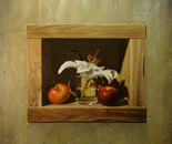 ,,Still life in niche (1)''-oil on canvas-61x55cm