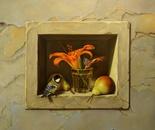 ,,Still life in niche(2)''-oil on canvas-61x55cm