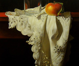 ,,Still life with apple and glass cup''-oil on canvas-46x38cm
