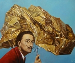 ,,Dali the magician,under a golden cloud''-oil on linen-81x60cm