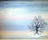 The solitary tree, acrylic and Indian ink. 50x50cm. Winter atmosphere