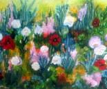 Summer garden. theme sceneries. Acrylic 70 x 80 cm. A luscious summer garden