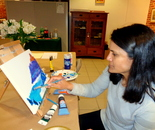 "Natalya B. Parris was teaching Wine and Art Party on January 20, 2017 from 7pm - 9:30pm ""Nicholas Roerich in Acrylic"" at the Gaithersburg Arts Barn; 311 Kent Square Rd, Gaithersburg, MD 20878, (301) 258-6394."