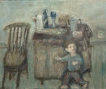 a boy and a still life