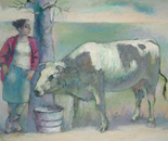 The girl with a cow