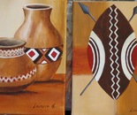 African pots and shield diptych