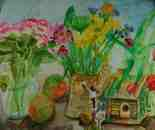 Roses,flowers,apples, and Ariel's fairie house