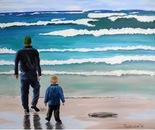 Man and Boy on Beach