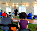 I was working at the Gaithersburg Book Festival 2017 and took this photo, Mystery Writing, Alan Orloff /The Writer's Center; May 20 near Gaithersburg City Hall