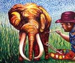 Mammoth elephant and Dan Civa - oil on canvas 90x120 cm