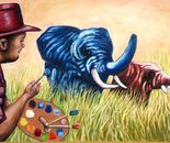 Colored elephants and Dan Civa - oil on wood board 81x122 cm