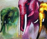 Colored elephants -oil on canvas 60x80 cm