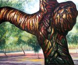 Sculpturel chestnut tree No.O. oil on wood board - 85x122 cm