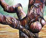 Sculpturel chestnut tree No.P.- oil on wood bard - 85x122 cm