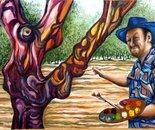 Sculpturel chestnut tree No.S. and Dan Civa - oil on canvas 90x120 cm