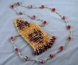 Topaz red heart amulet bag