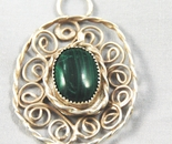 Malachite swirl circle pendant