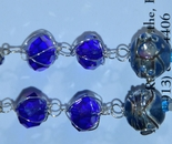 blue silver caged crystal lampwork earrings