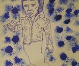 Artist Antonello Pagniello reproduces the famous faces of Elvis Presley  pen sketching drawings