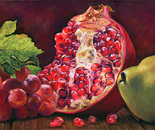 Still life with a pomegranate, grapes and a pear