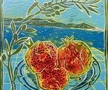 Granatapfel und Oliven