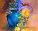 lilac in blue vase