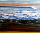 Alpine scenery in the distance, acrylic on canvas, 80 cm H x 60 cm W