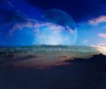 Desert Moon, Sunset in Color