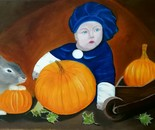 Paj-boy with rabbit and pumpkins