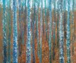 KLIMT INSPIRED AUTUMN BIRCHES TREES LANDSCAPE