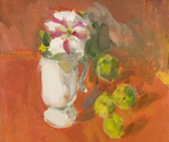 Still Life with petunia and green apples