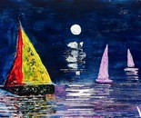 Boats in the moonlight