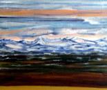 Alpine lakeside scenery.Acrylic 80 cm H x 60 cm W. 2017