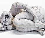 Raku Sculpture 14 cm high - artist Birgit Kirke