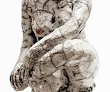 Raku Sculpture 30 cm high - artist Birgit Kirke