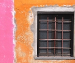 Window on a cloured wall