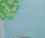 Paesaggio con betulla e foglie d'erba