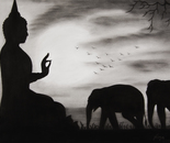 Buddha and elephants
