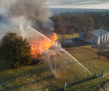 Hosing Down House Fire