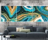 Three-canvas Geode wall art